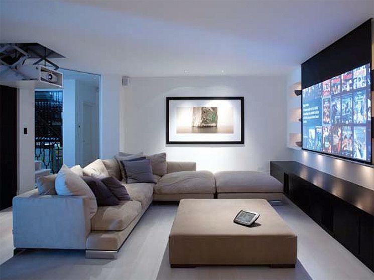 High-Tech im Wohnzimmer So fallen TV, Beamer und Musikanlage kaum - heimkino wohnzimmer ideen
