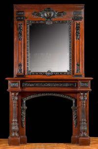 Tall French Baroque Mahogany & Ebony Fireplace Mantel ...