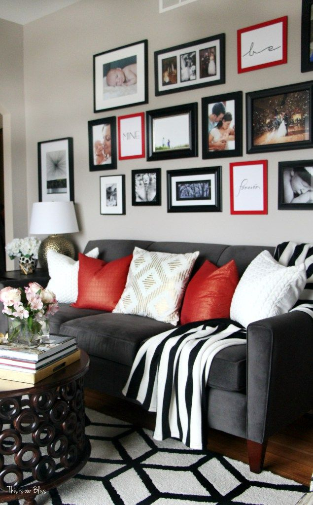 DIY budget gallery wall update Valentines gallery wall DIY gallery - black and white living rooms