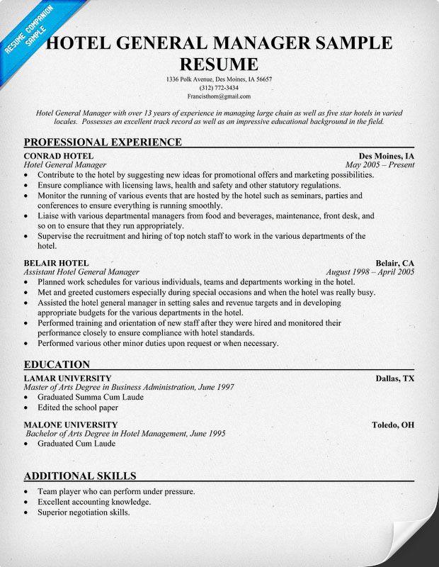 Hotel General #Manager Resume (resumecompanion) Resume - resume companion