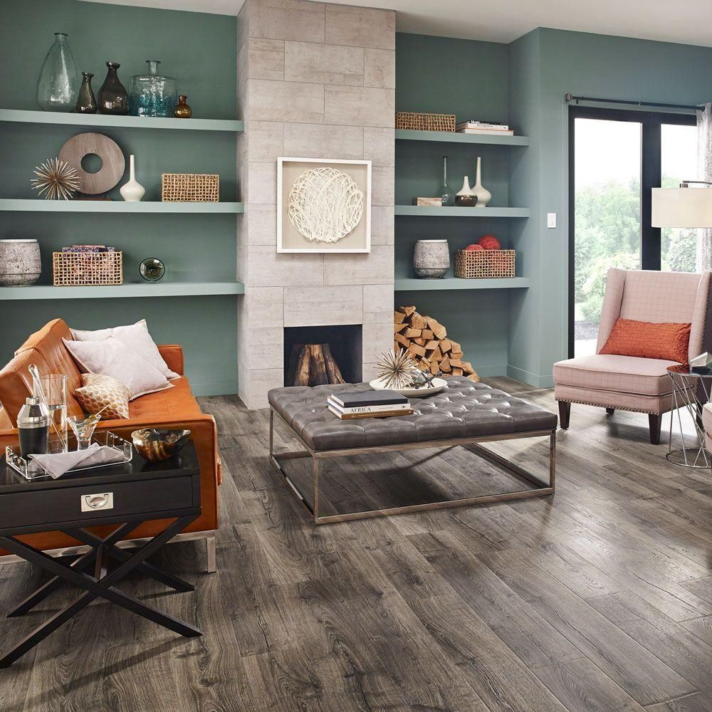 home depot kitchen flooring Pergo Outlast Vintage Pewter Oak 10 mm Thick 7 1 2 in Wide 47 1 4 in Length Laminate Flooring 19 63 sq ft case