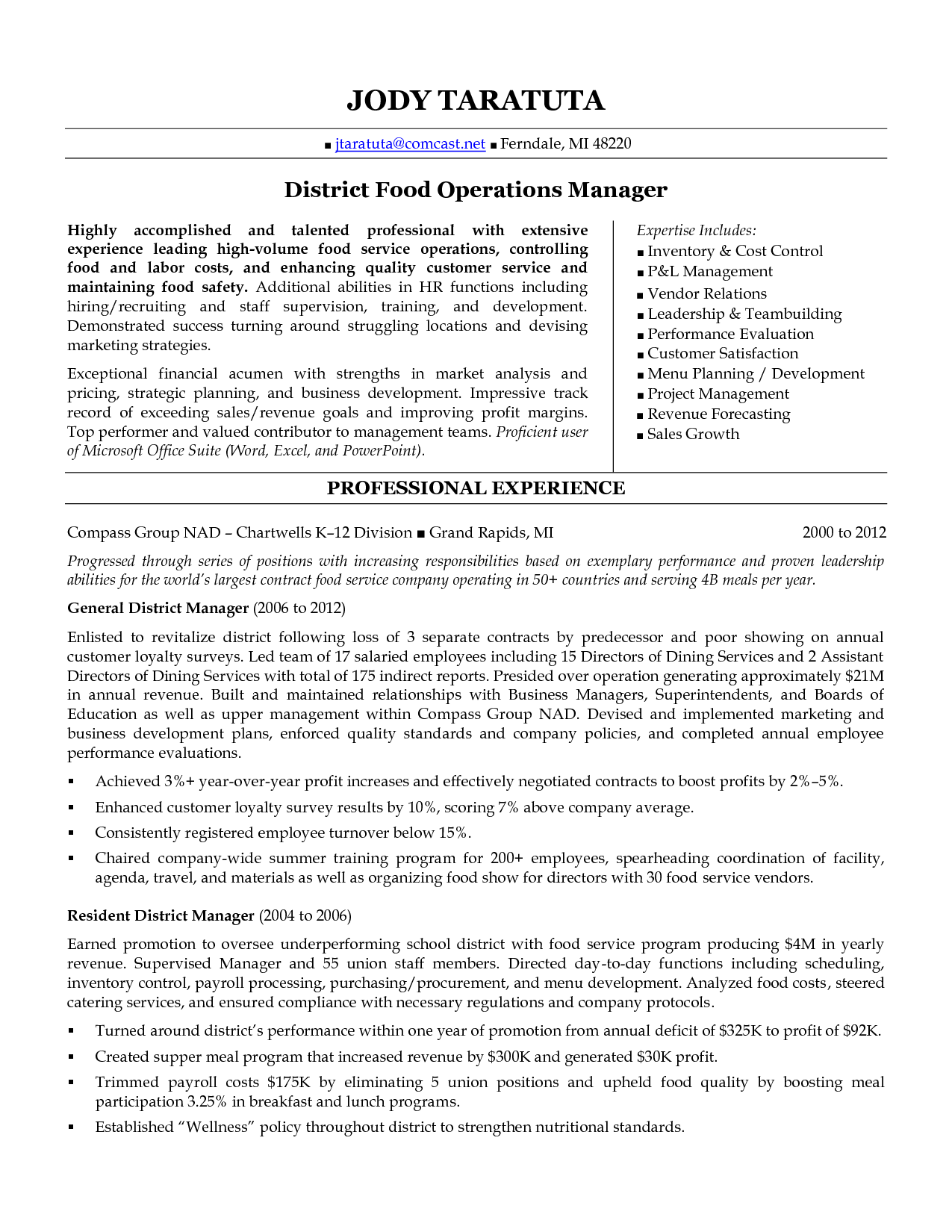 examples of district manager resumes