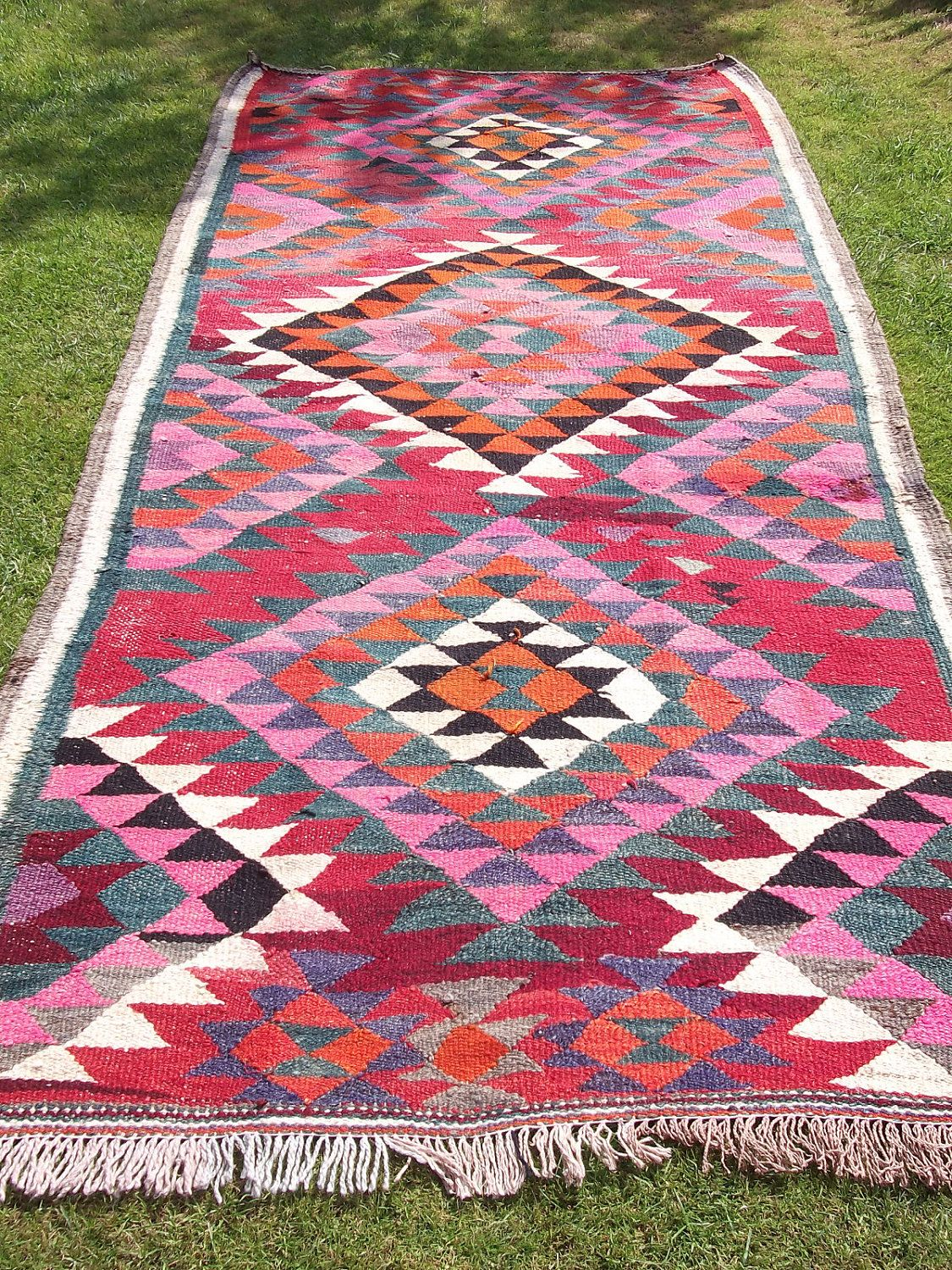 Bright Rugs Vibrant Woven Persian Kilim 8 Ft X 4 Ft Bright Wool Rug