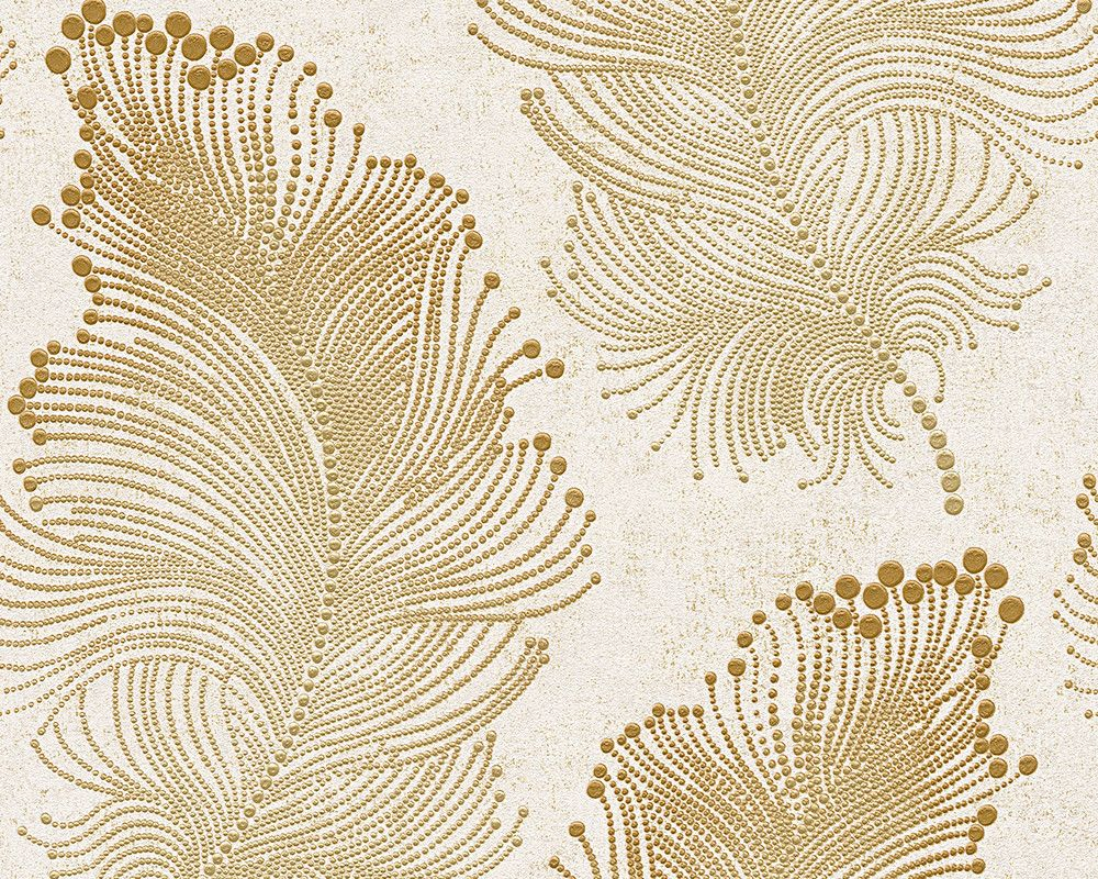 Baroque Floral Wallpaper in Gold and Ivory design by BD