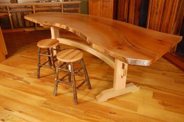 handmade sycamore live edge slab wood dining table