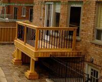 Wood Balcony Railings | Gallery of a small cedar deck with ...