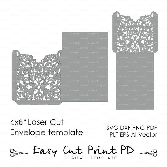 Scroll Wedding Envelope 4x6 pattern Template by EasyCutPrintPD - 4x6 envelope template