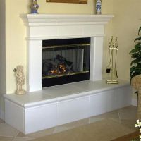 fireplace raised hearth updated with wood trim - Google ...