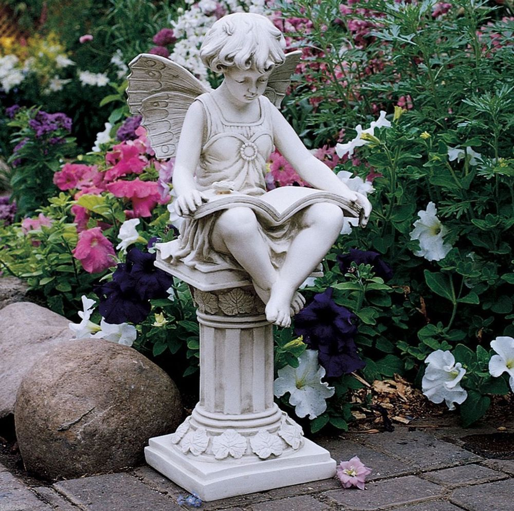 Details about fairy reading garden statue angel outdoor home yard sculpture lawn ornament new