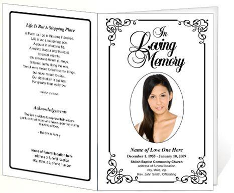 Elegant Memorial Funeral Bulletins Simple Download Printable - program for a funeral