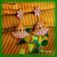 White jumkha/jimikki earrings traditional south Indian ...