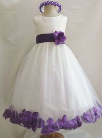 Flower Girl Dress IVORY/Purple PETAL Wedding Children ...