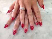 Red nails with diamonds   Nails   Pinterest   Red nails