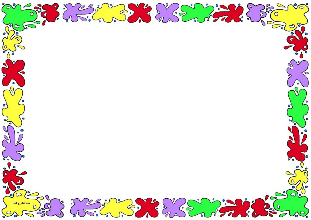 Paint themed lined paper and page borders for your English writing - lined border paper