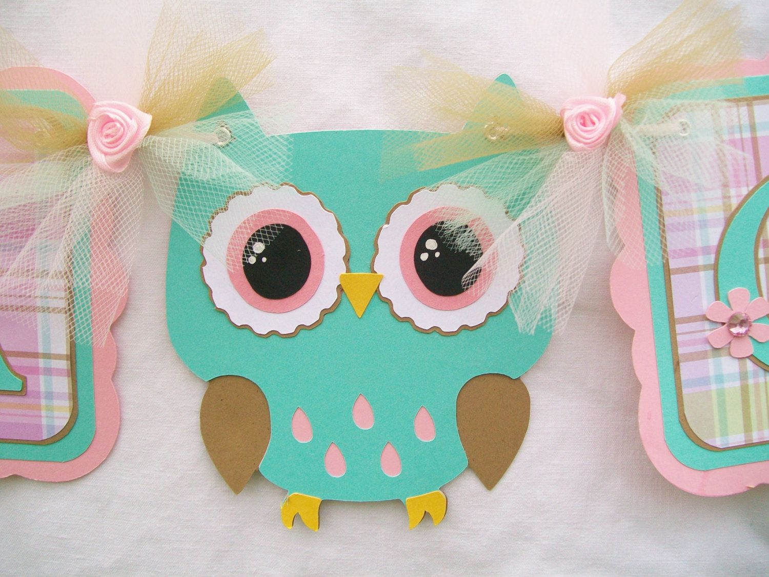 Owl Bathroom Owl Baby Shower Banner Turquoise Pink Plaid Its A Girl