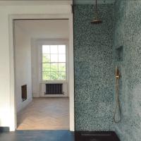 Terrazzo shower by Heirloom Studio - Green terrazzo ...