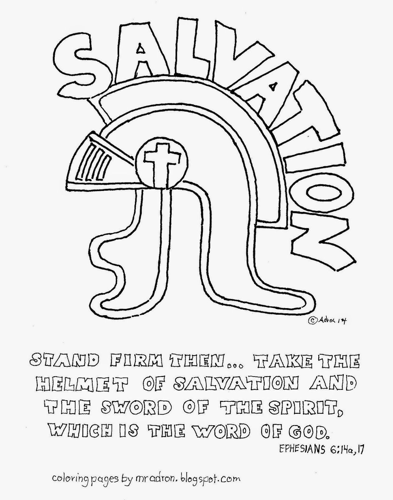 Coloring pages for kids by mr adron the helmet of salvation free coloring page