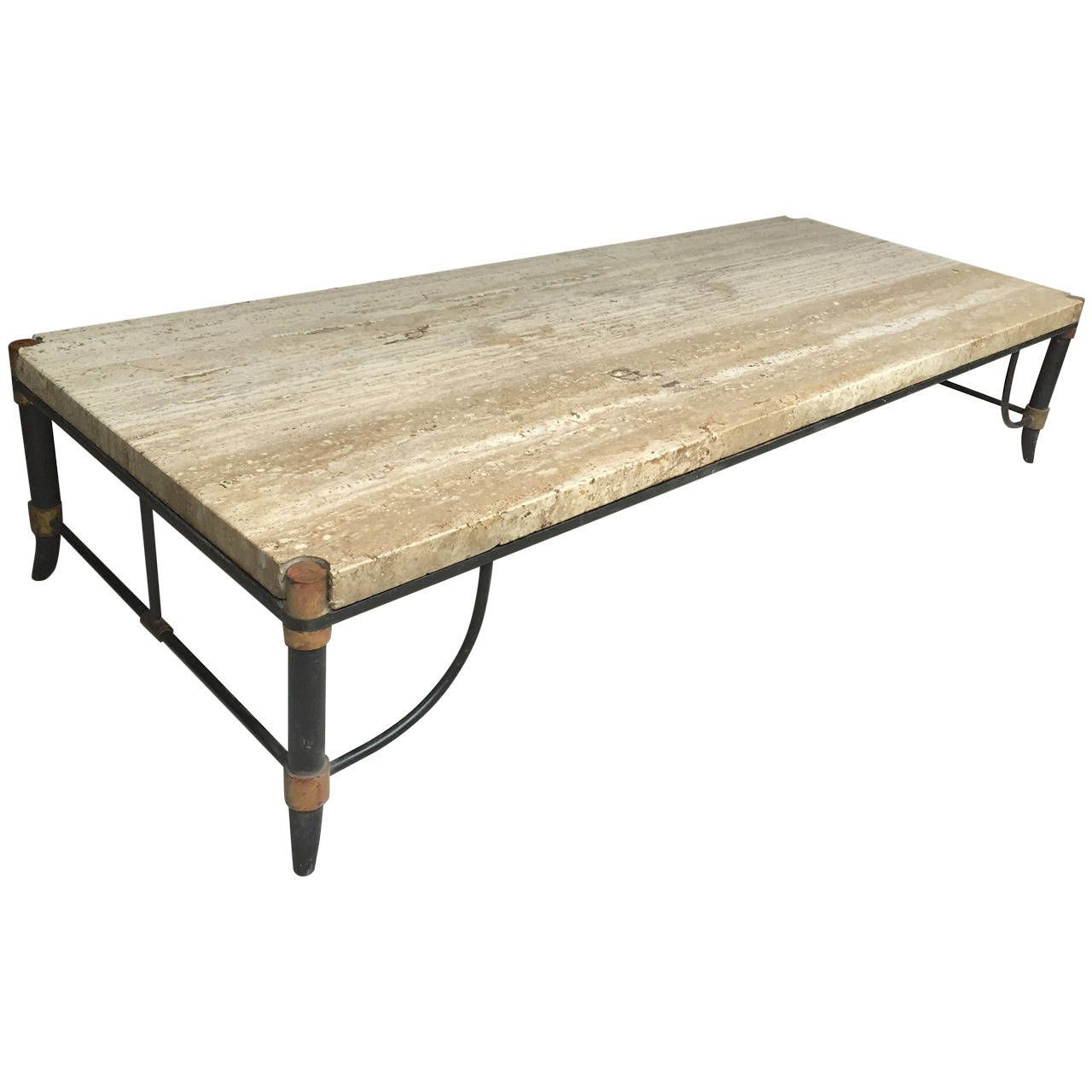 Unusual Cocktail Tables Italian Travertine Bronze And Enamel Coffee Table From