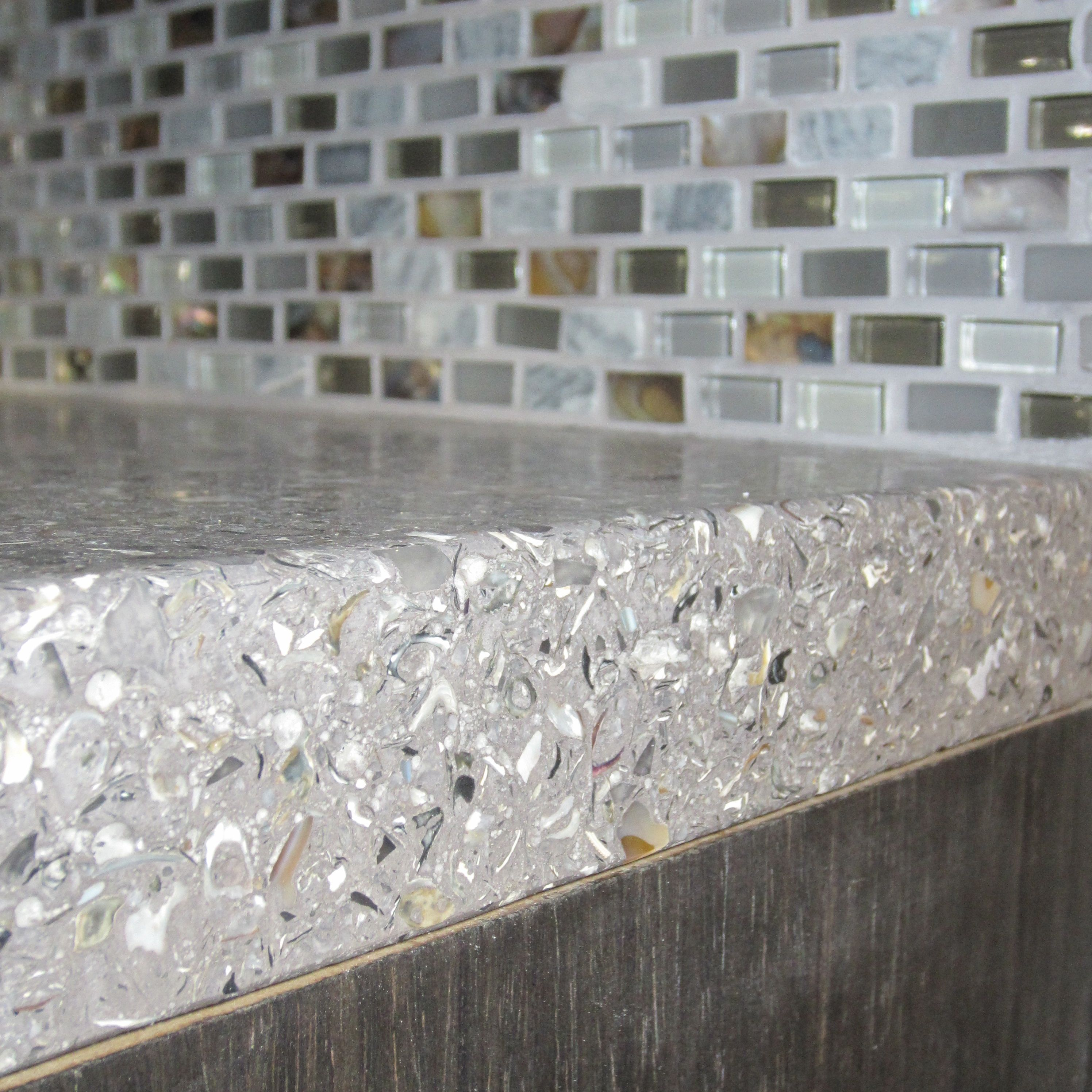 Black Recycled Glass Countertops Concrete Mixed With Oyster Shells Countertop And A
