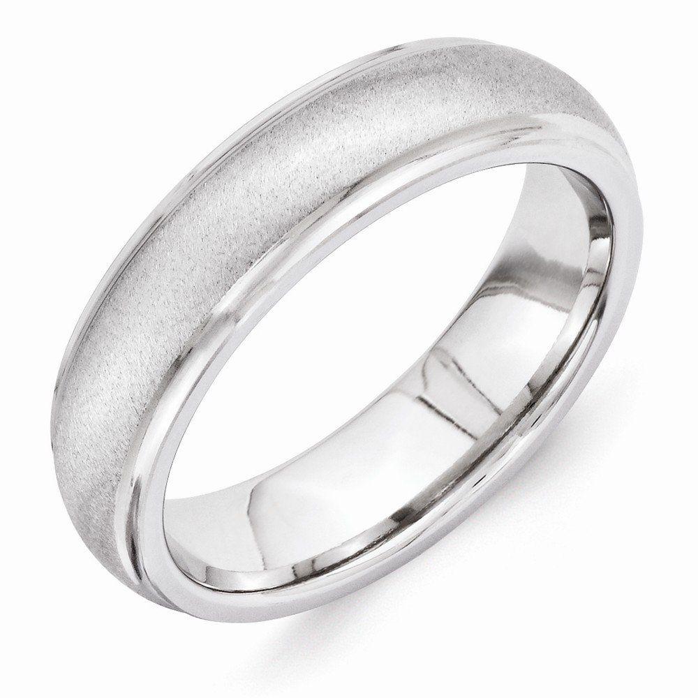 vitalium wedding band Perfect Jewelry Gift Vitalium Stone Finish Center Grooved Polished Edge 6mm Band Jewelry Brothers designer