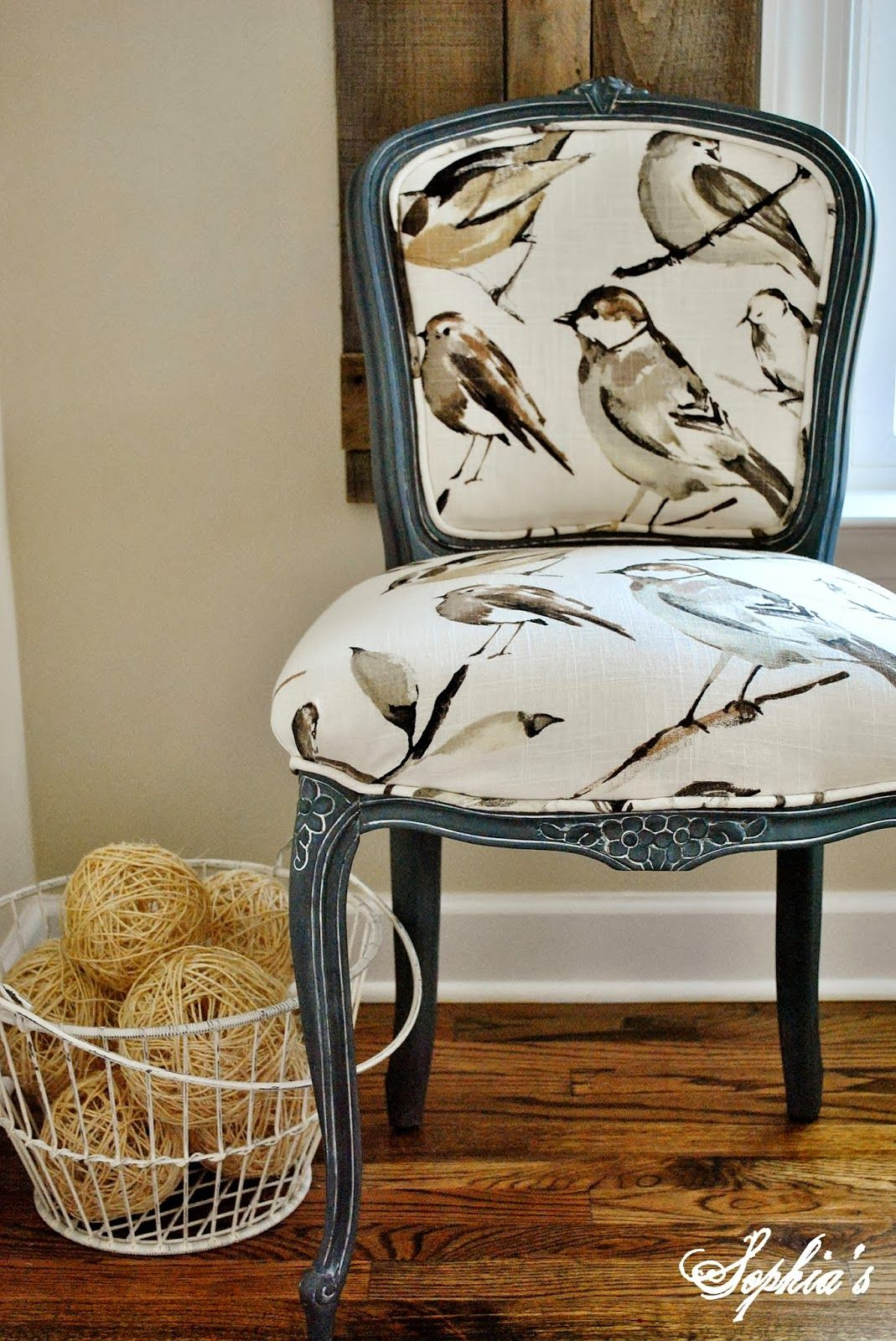 A fabulous reupholstered chair that was painted with graphite chalk paint decorative paint by annie chair upholstery fabricchair