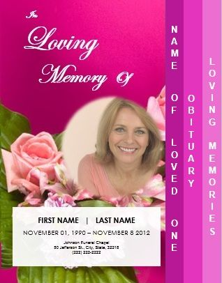 4 Page Graduated Funeral Template for Memorial Service \/ Order of - funeral announcement sample