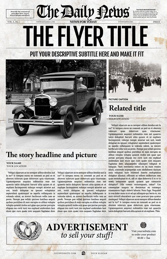 Photoshop Newspaper Template Front by Newspaper Templates on - newspaper headline template