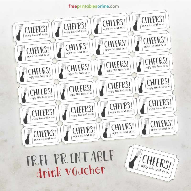 Cheers Free Printable Drink Vouchers - Free Printables Online - printable ticket template free
