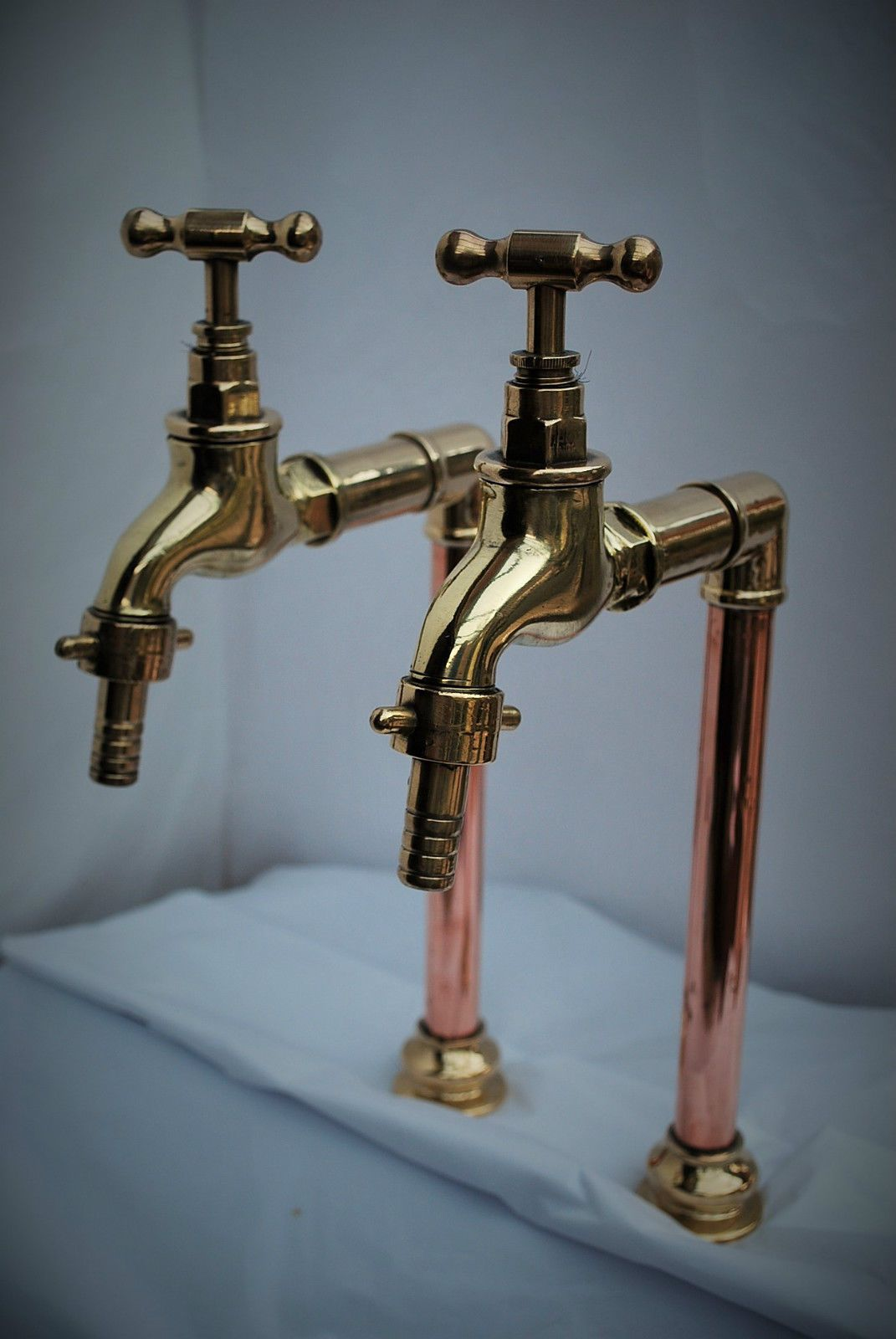 Copper Taps Brass And Copper Belfast Kitchen Sink Tall Bib Taps Old