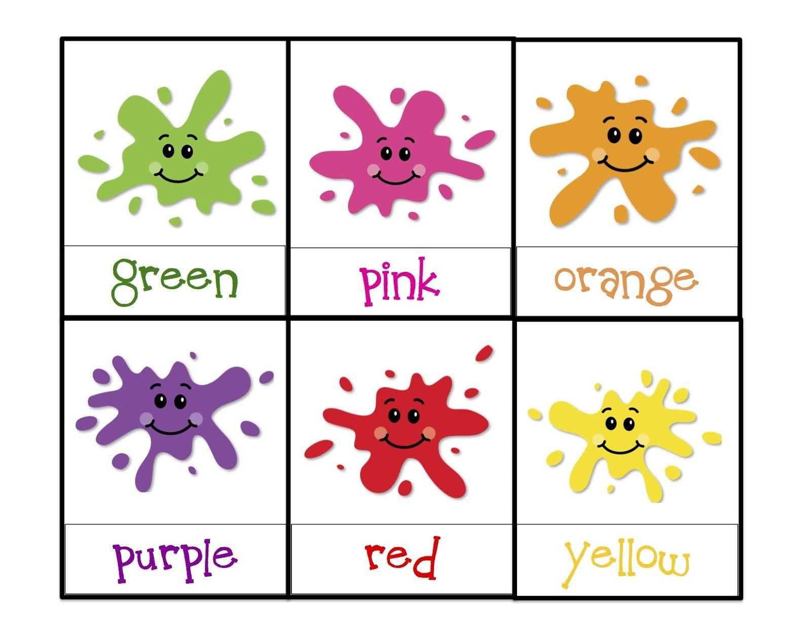 Preschool printables colors for splat game