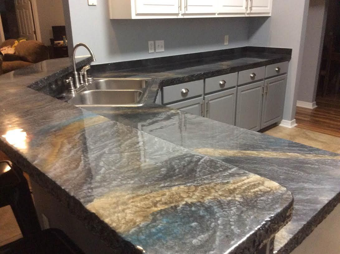Countertop Epoxy Com Metallic Illusion Countertop With Chiseled Edge Custom