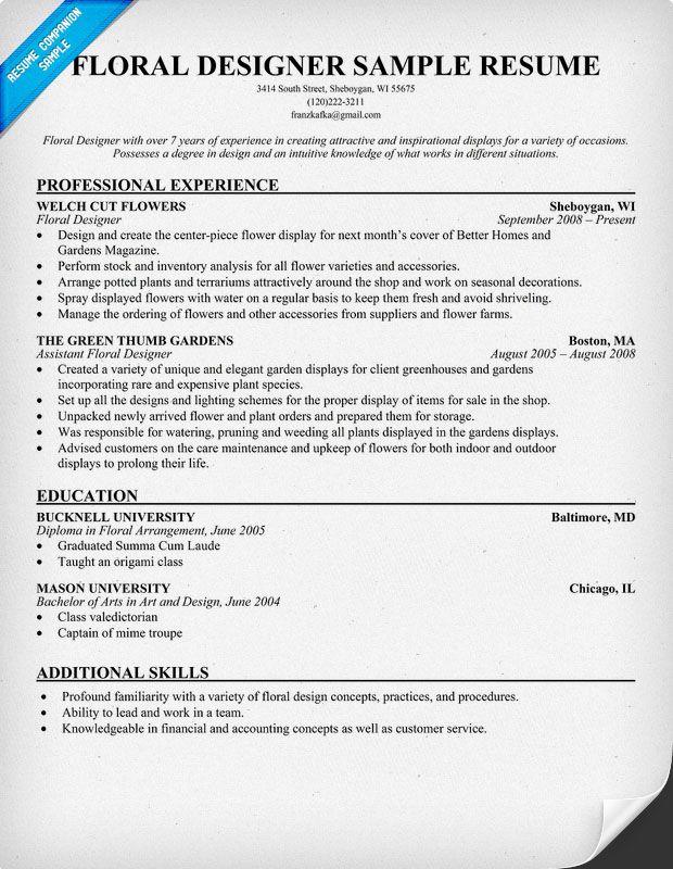 resume examples floral designer