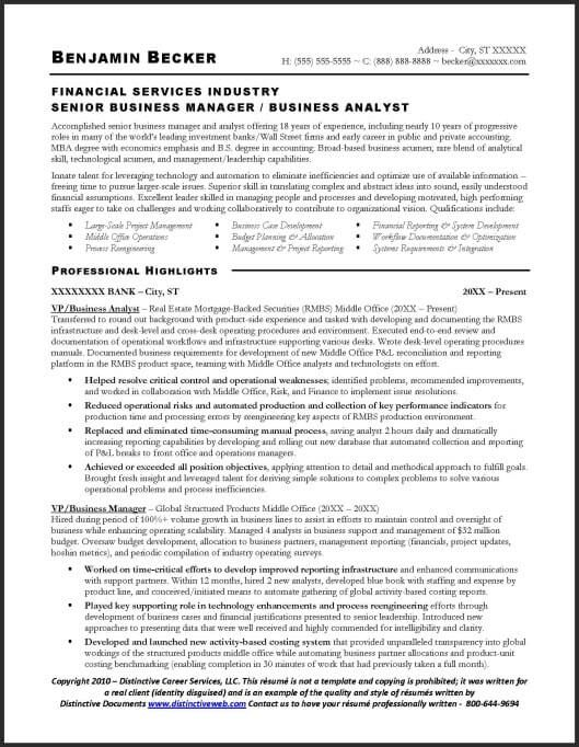 Business analyst sample resume - Page 1 Project Management - examples of business resumes