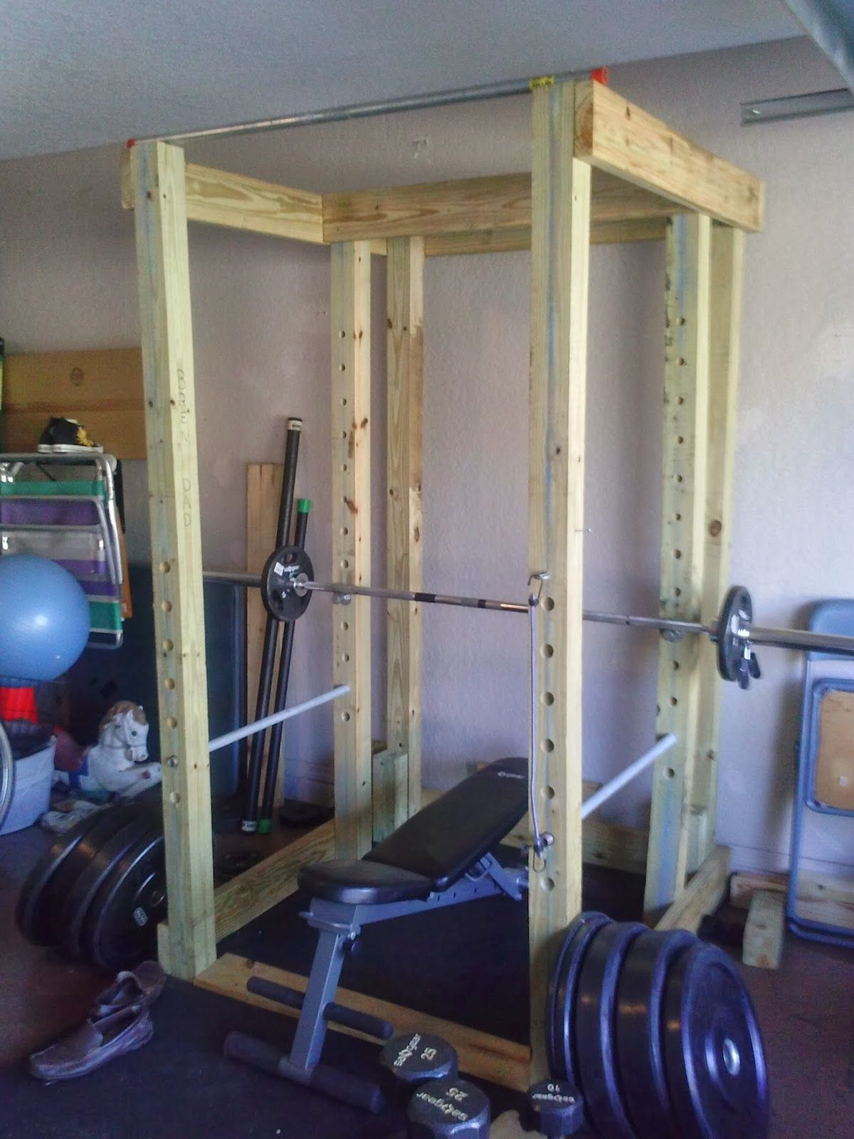 Diy Garage Gym Equipment Homemade Wooden Power Rack Power Cage The Power Rack