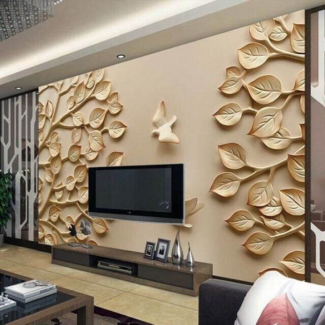 12 3D Wallpaper for TV Wall Units That Will Make a Statement - designer wall unit