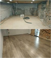 Basement refinished with Concrete Wood- Ardmore PA ...