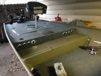 Front of boat. Storage, cup holders, rod holders, light ...