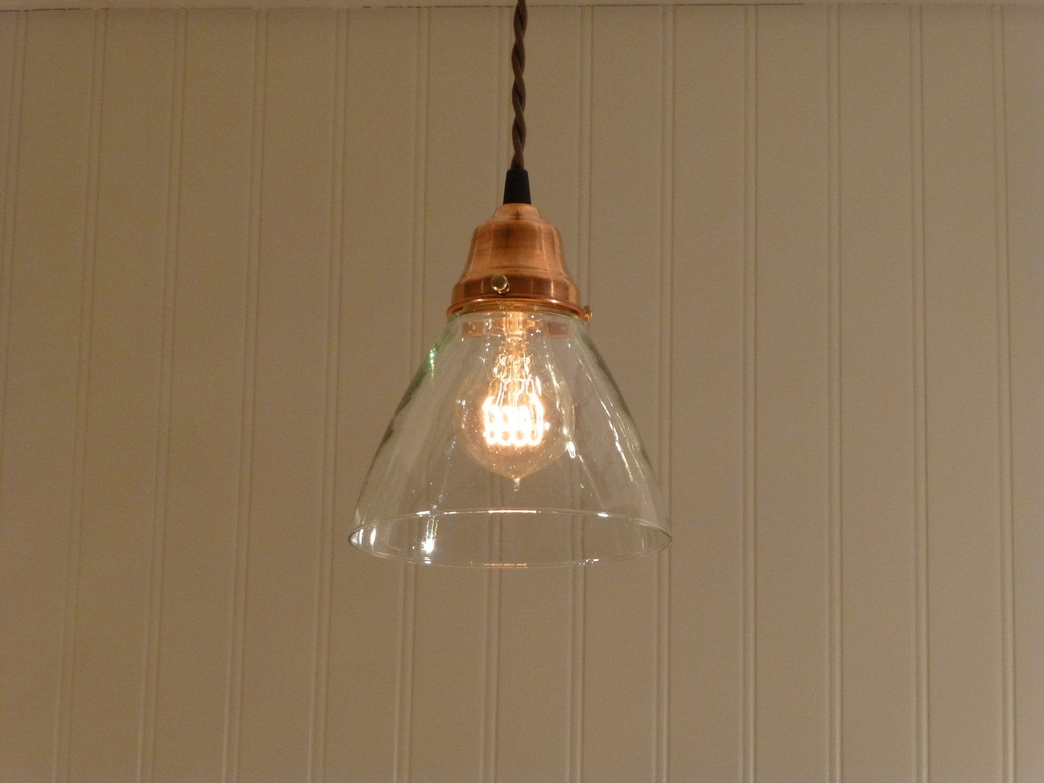 Kitchen Pendant Lighting Glass Shades Copper Pendant Light With Hand Blown Glass Funnel Shade