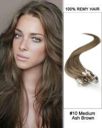 16 #10 Medium Ash Brown Straight Micro Loop 100% Remy ...