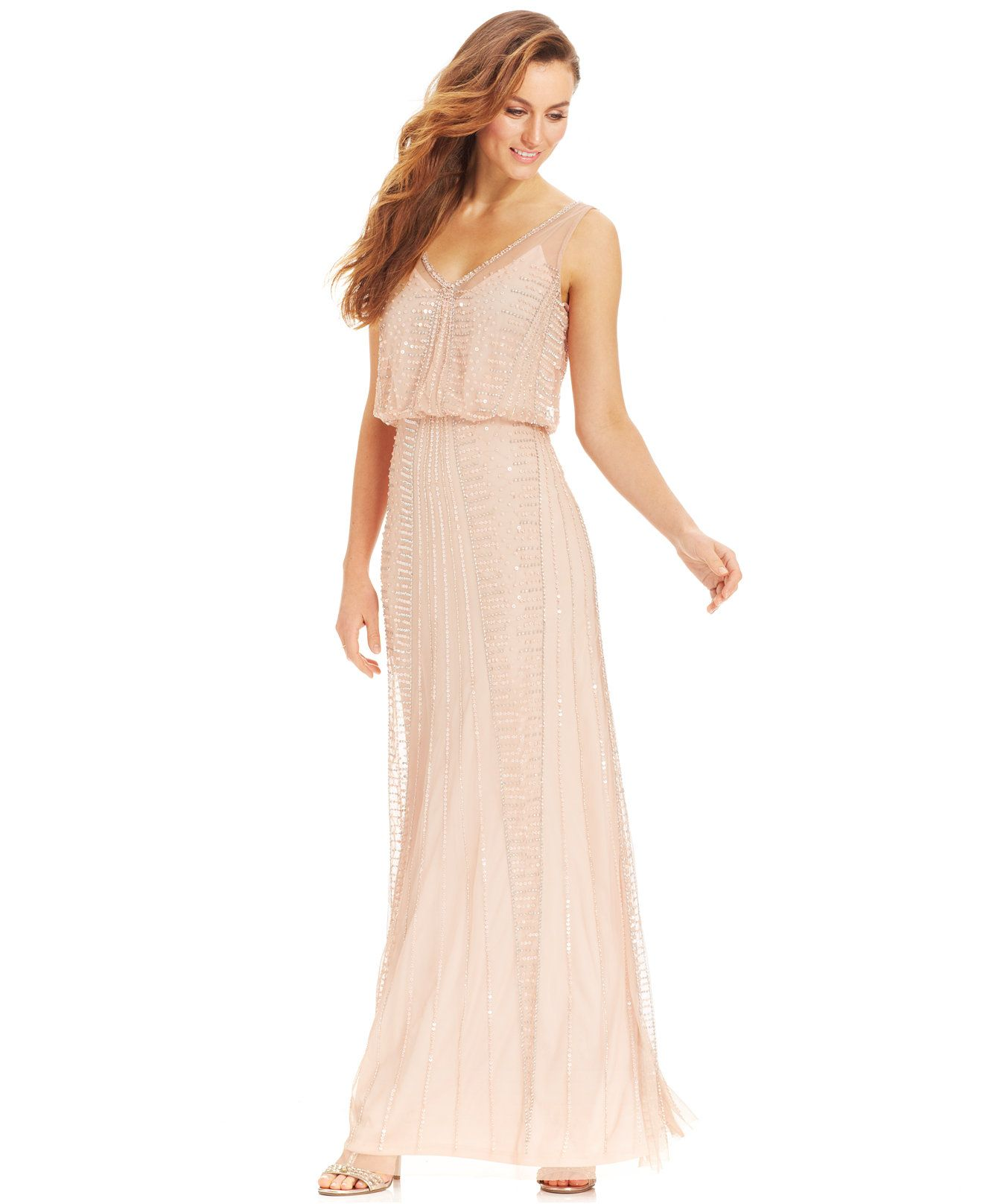 macy wedding dresses not sure the color Adrianna Papell Illusion Beaded Blouson Gown Dresses