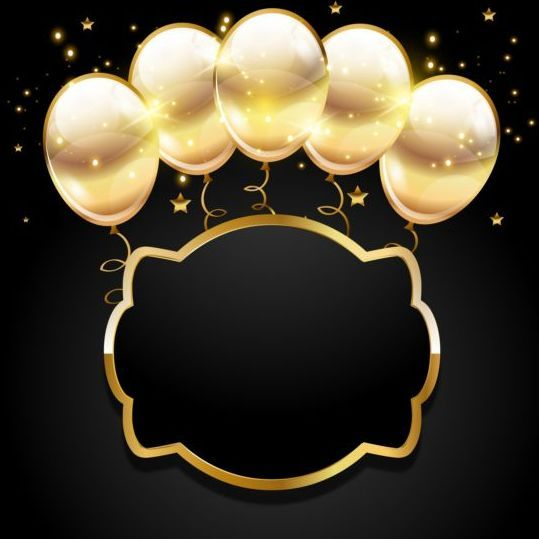 Falling Glitter Confetti Wallpapers Golden Balloon With Black Birthday Background 03