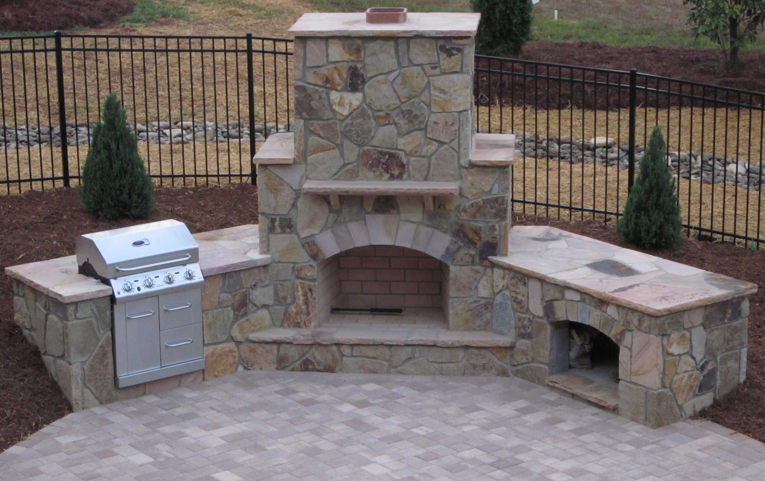 Backyard Fireplace Designs Stone Patio With Fireplace Stone Outdoor Fireplace Grill