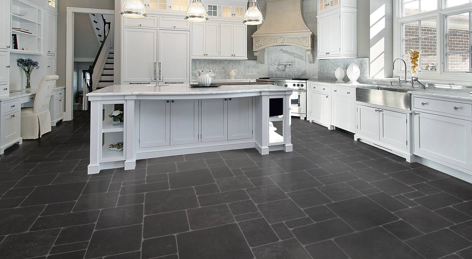 Kitchen Design Ideas Dark Floors Vinyl Floor Floor Design Gorgeous White Grey Kitchen