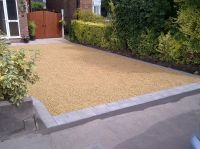 Gravel driveway with block paving edging or border ...