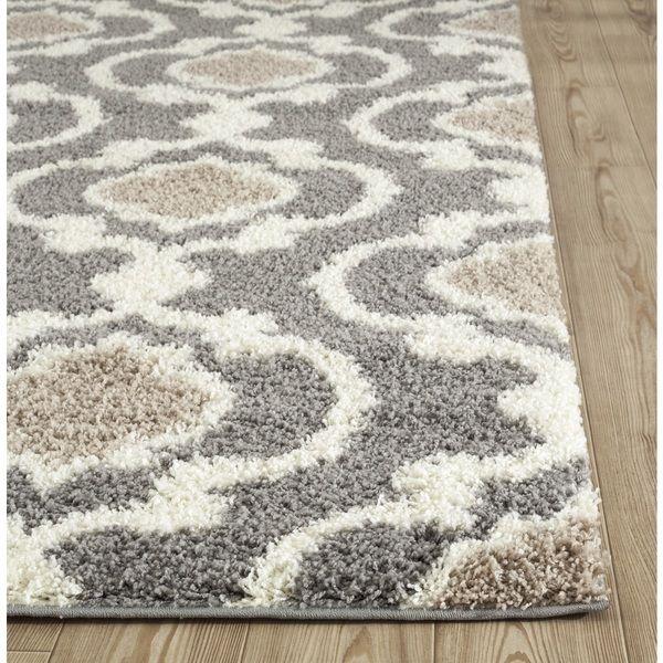 Cozy Moroccan Trellis Gray\/Cream Indoor Shag Area Rug (5u00273 x 7u00273 - grey living room rug
