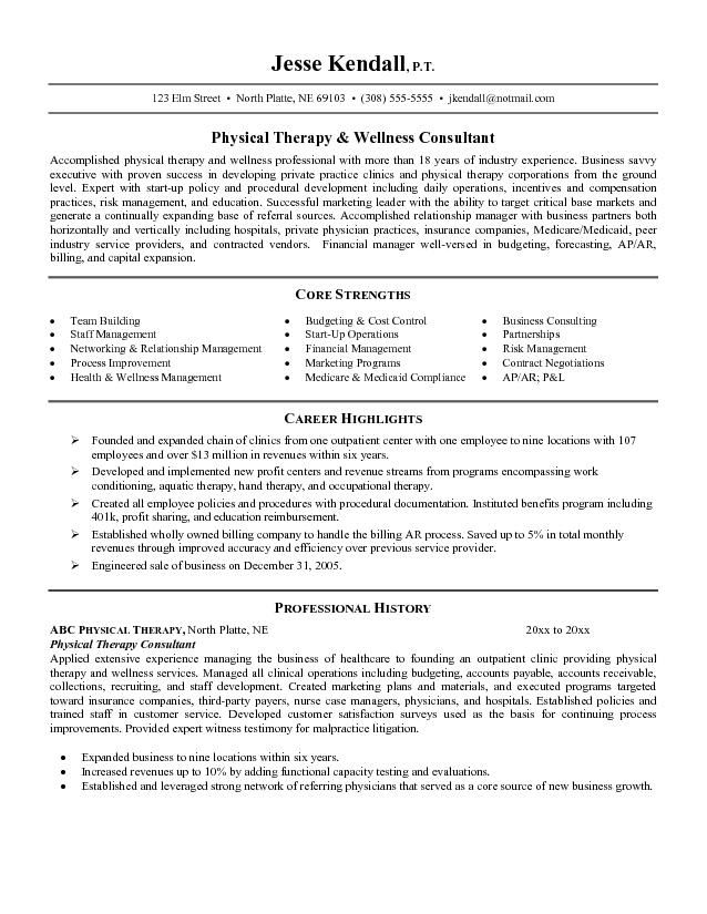 resume objective for healthcareResume Example Resume Example - physical therapist resume