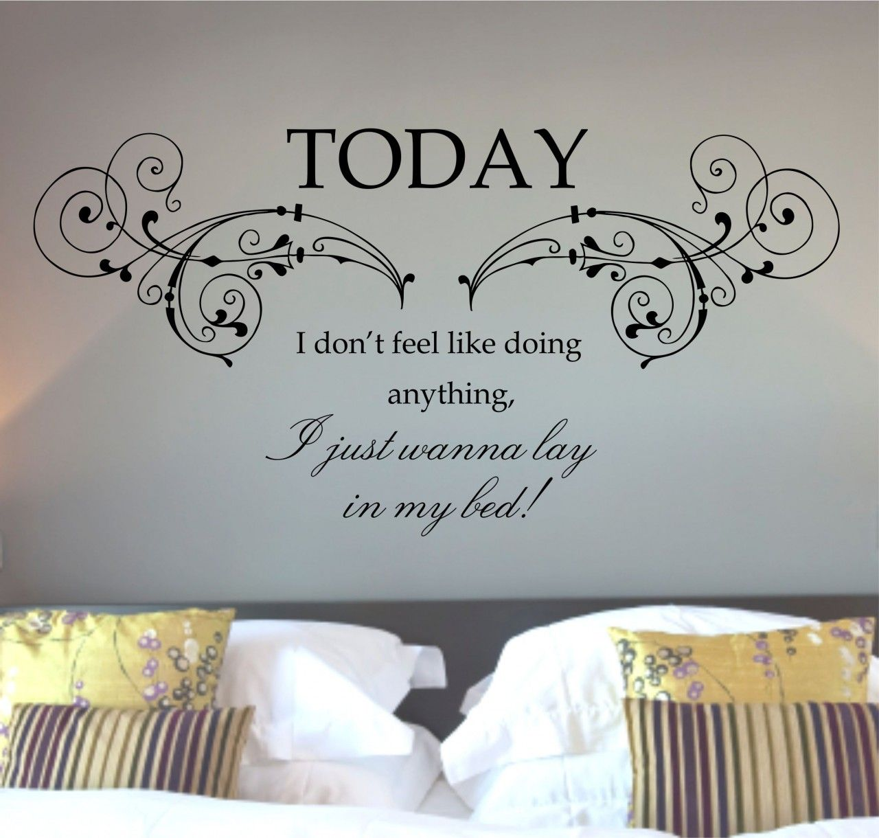 Cozy bedroom using unusual bedroom wall art with words of wisdom above wide bed wall stickers