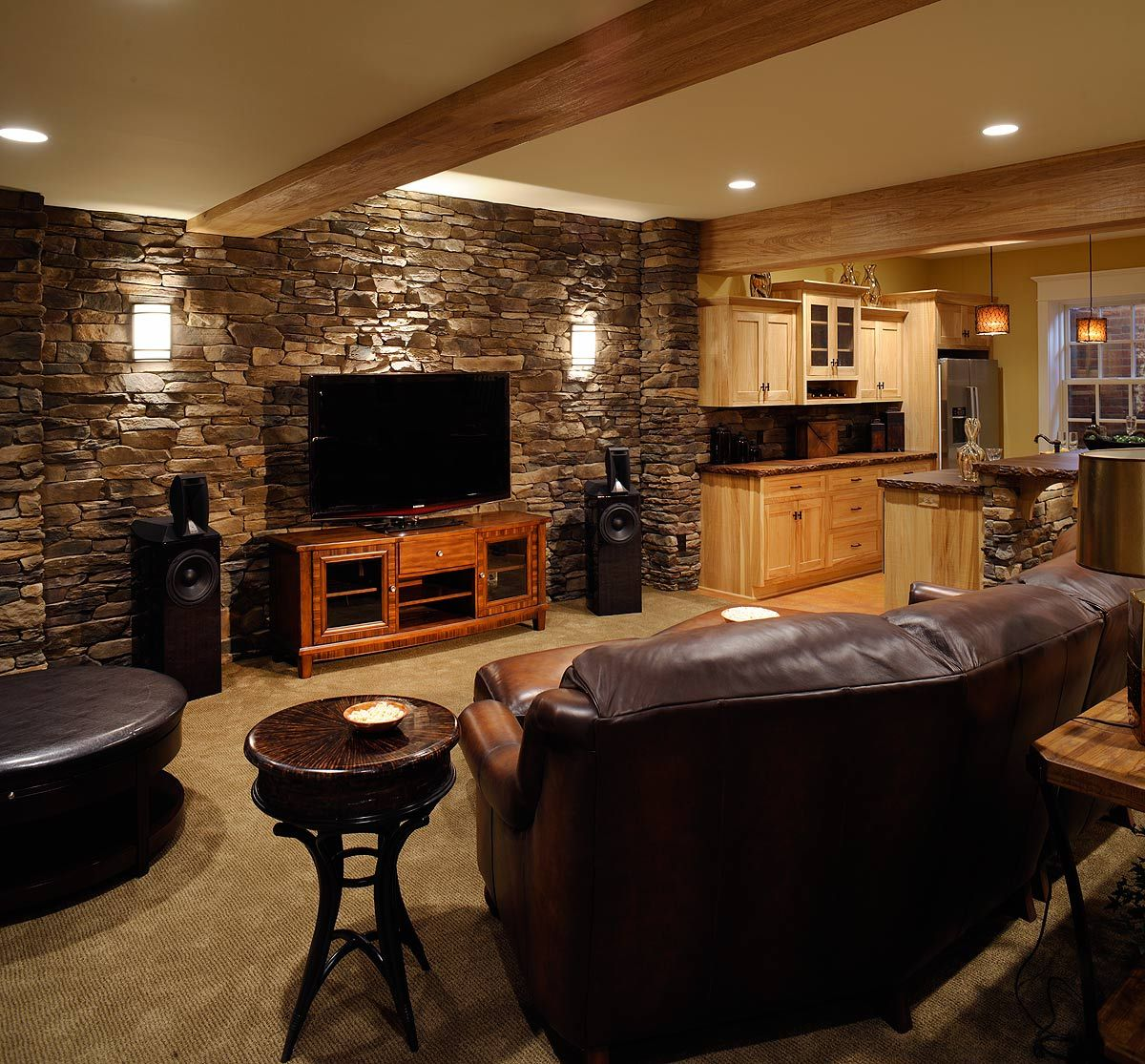 Basement Bar Room Ideas I Like The End Table And The Tv Stand The Rock Is Very