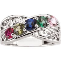Filigree Lined Family Birthstone Mother's Ring with 1 2 3 ...