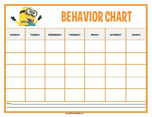 Free Printable Minions Behavior Chart Toddlers and forward - printable behavior chart